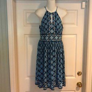 London Times Blue Design halter dress